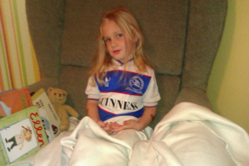 Alva in her Queens Park Rangers shirt.
